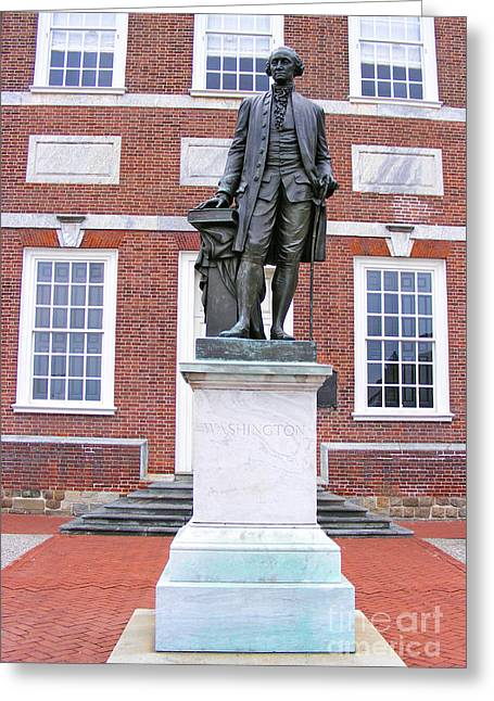 Recently Sold -  - Historic Statue Greeting Cards - George Washington Greeting Card by Alan Crabtree