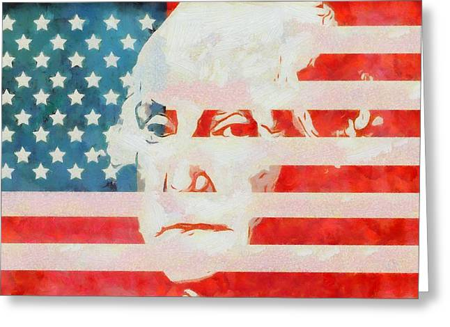 George Washington American Flag Greeting Card by Dan Sproul