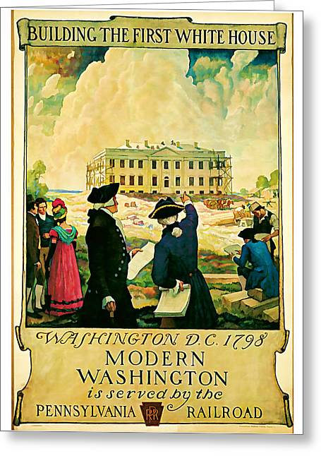 Old Country Roads Mixed Media Greeting Cards - George Washington and the White House 1932 Vintage  Greeting Card by Presented By American Classic Art