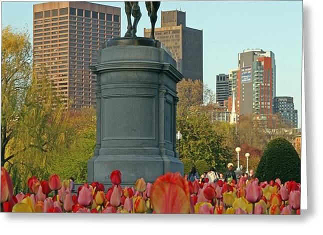George Washington at the Boston Public Garden Greeting Card by Juergen Roth