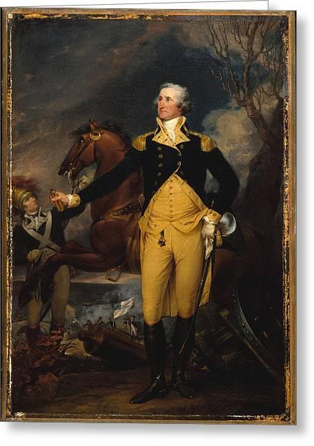 Battle Of Trenton Greeting Cards - George Washington Before the Battle of Trenton Greeting Card by John Trumbull