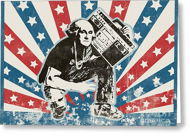 Pixel Chimp Greeting Cards - George Washington - BoomBox Greeting Card by Pixel Chimp