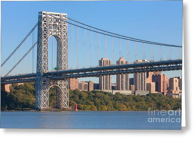 Clarence Holmes Greeting Cards - George Washington Bridge and Lighthouse II Greeting Card by Clarence Holmes