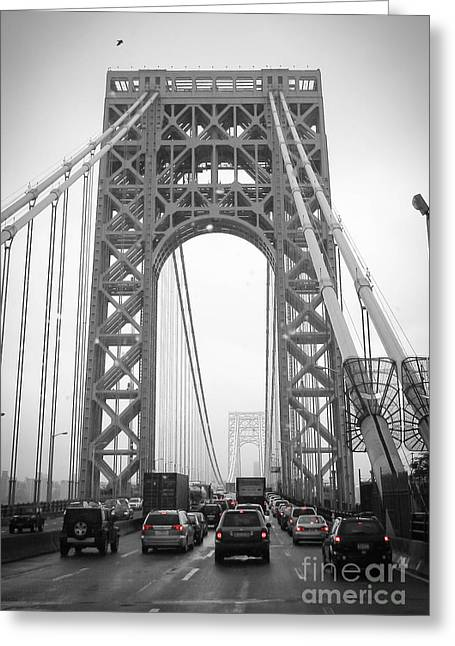 Redlight Greeting Cards - George Washington Bridge Greeting Card by Andrea Anderegg