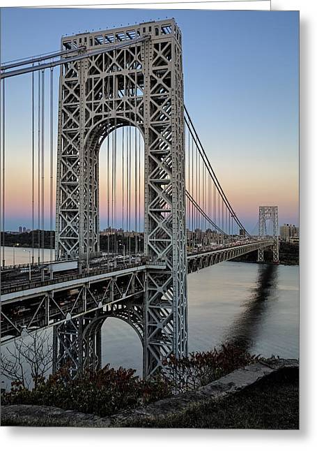 S-hooks Greeting Cards - George Washington Bridge Aproaching Dusk Greeting Card by Susan Candelario