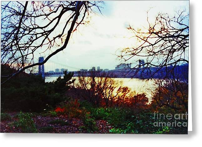 Sarah Loft Greeting Cards - George Washington Bridge at Sunset 2 Greeting Card by Sarah Loft