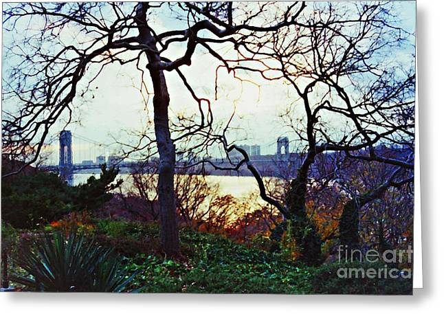 Sarah Loft Greeting Cards - George Washington Bridge at Sunset Greeting Card by Sarah Loft
