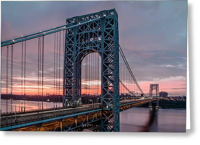 Fort George Greeting Cards - George Washington Bridge at twilight Greeting Card by Eduard Moldoveanu