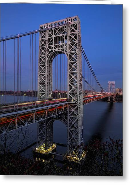 S-hooks Greeting Cards - George Washington Bridge At Twilight Greeting Card by Susan Candelario