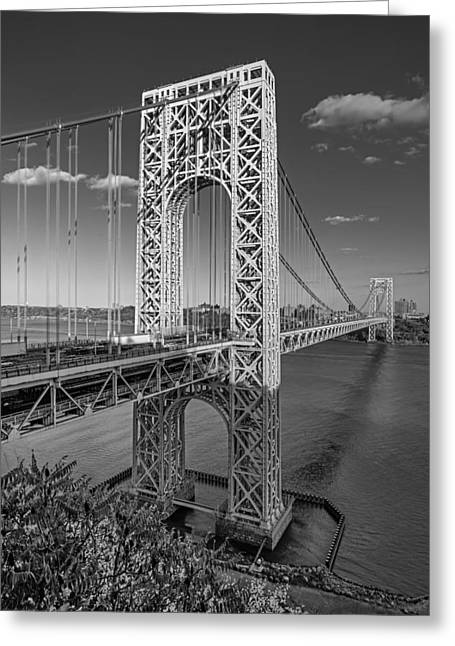 S-hooks Greeting Cards - George Washington Bridge BW Greeting Card by Susan Candelario