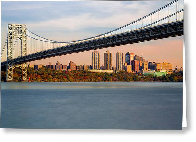 S-hooks Greeting Cards - George Washington Bridge In Autumn Greeting Card by Susan Candelario