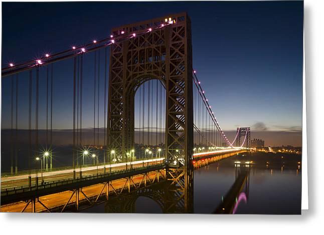 Fort George Greeting Cards - George Washington Bridge in Pink Greeting Card by Eduard Moldoveanu