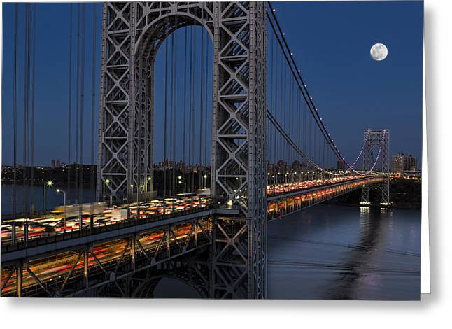 George Washington Bridge Moon Rise Greeting Card by Susan Candelario