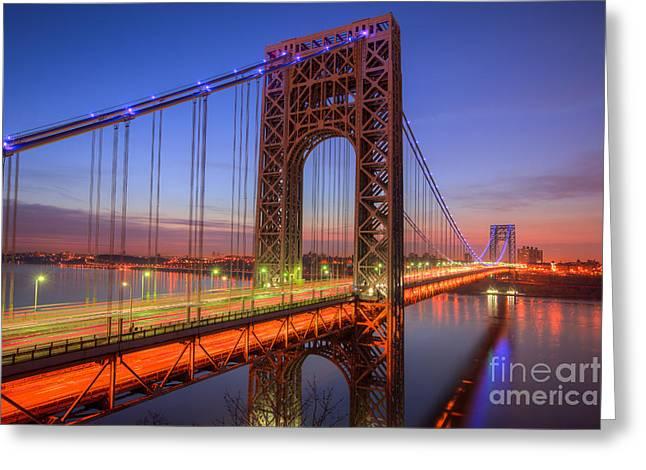 George Washington Bridge Morning Twilight I Greeting Card by Clarence Holmes