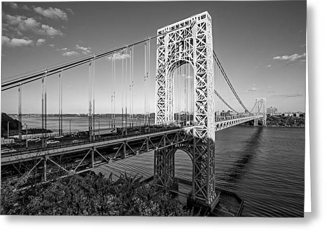 S-hooks Greeting Cards - George Washington Bridge NYC BW Greeting Card by Susan Candelario