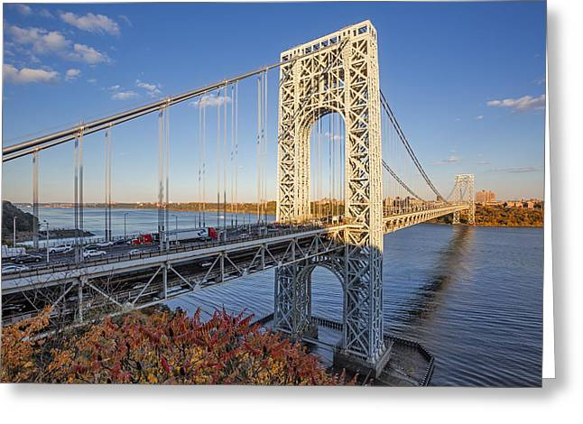 S-hooks Greeting Cards - George Washington Bridge NYC Greeting Card by Susan Candelario