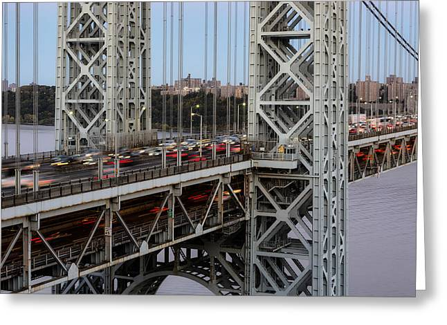 S-hooks Greeting Cards - George Washington Bridge Rush Hour Greeting Card by Susan Candelario
