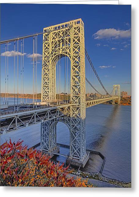 S-hooks Greeting Cards - George Washington Bridge Greeting Card by Susan Candelario