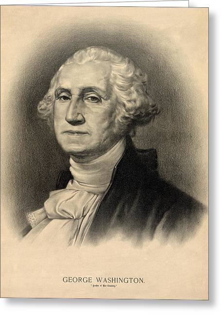 President Of America Greeting Cards - George Washington Greeting Card by Digital Reproductions
