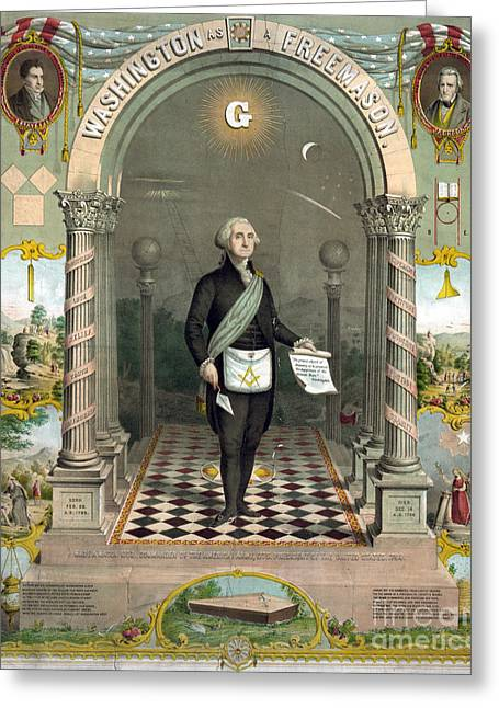 18th Century Greeting Cards - George Washington Freemason Greeting Card by Photo Researchers