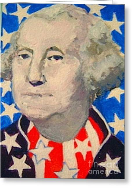 4th July Paintings Greeting Cards - George Washington in stars and stripes Greeting Card by Diane Ursin