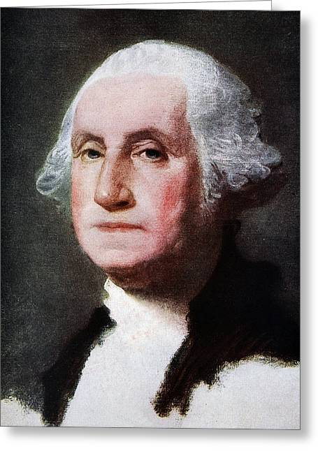 First Americans Greeting Cards - George Washington, Reproduced In The Greeting Card by Gilbert Stuart