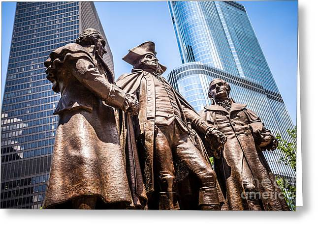 Editorial Photographs Greeting Cards - George Washington-Robert Morris-Hyam Salomon Memorial Statue Greeting Card by Paul Velgos