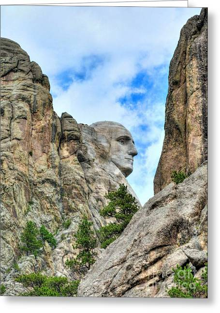 Rushmore Photographs Greeting Cards - George Washington Rocks Greeting Card by Mel Steinhauer