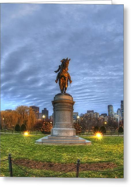 Spring Scenes Greeting Cards - George Washington Statue - Boston Greeting Card by Joann Vitali