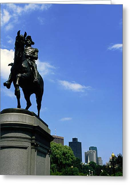 Public Garden Greeting Cards - George Washington Statue In Boston Greeting Card by Panoramic Images