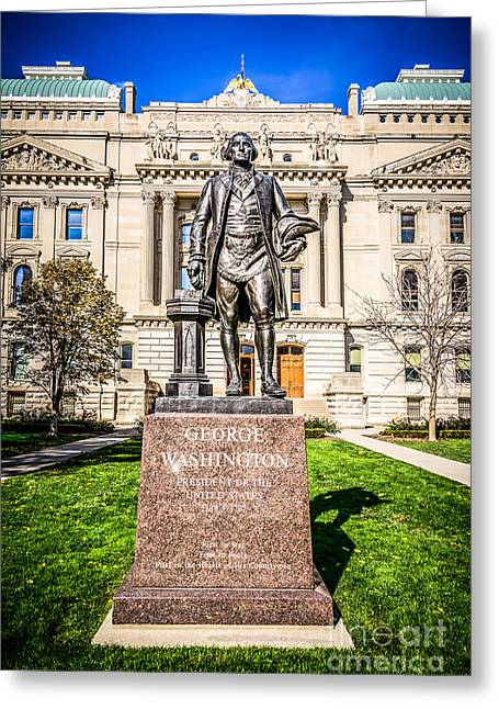 Washington Indiana Photos Greeting Cards - George Washington Statue Indianapolis Indiana Statehouse Greeting Card by Paul Velgos
