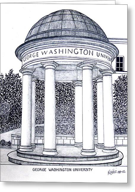 College Campus Buildings Drawings Greeting Cards - George Washington University Greeting Card by Frederic Kohli