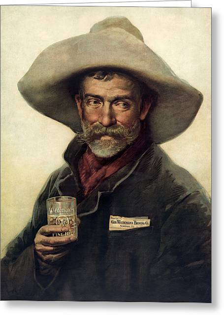 Beers Greeting Cards - GEORGE WIEDEMANNS BREWING COMPANY c. 1900 Greeting Card by Daniel Hagerman