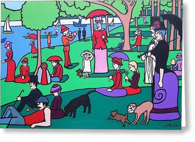 La Grande Jatte Greeting Cards - George Seurat- A Cyclops Sunday Afternoon on the Island of La Grande Jatte Greeting Card by Thomas Valentine