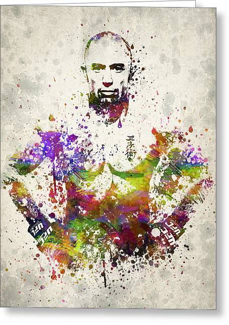 Boxing Greeting Cards - Georges St-Pierre Greeting Card by Aged Pixel