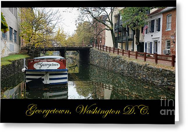 Floating House Greeting Cards - Georgetown Canal Poster Greeting Card by Olivier Le Queinec