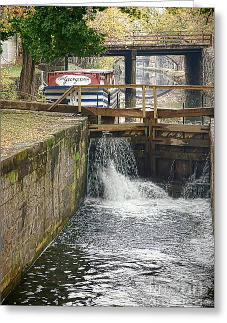 Rushing Water Greeting Cards - Georgetown Memories  Greeting Card by Olivier Le Queinec