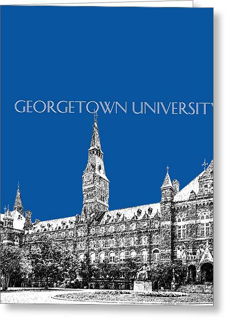 Hall Digital Art Greeting Cards - Georgetown University - Royal Blue Greeting Card by DB Artist