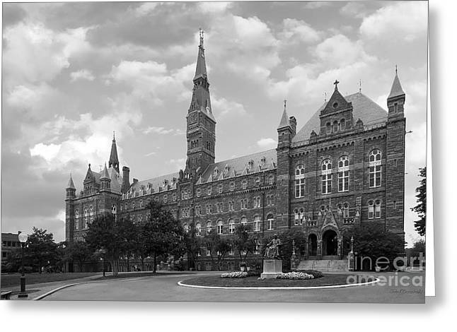 Hall Photographs Greeting Cards - Georgetown University Healy Hall Greeting Card by University Icons