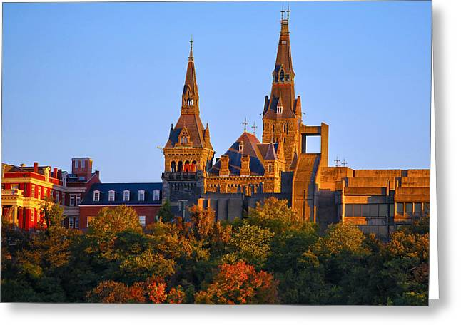 Georgetown Greeting Cards - Georgetown University Greeting Card by Mitch Cat
