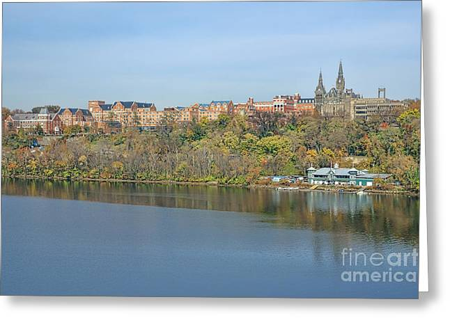 Historic Neighborhood Greeting Cards - Georgetown University Neighborhood Greeting Card by Olivier Le Queinec