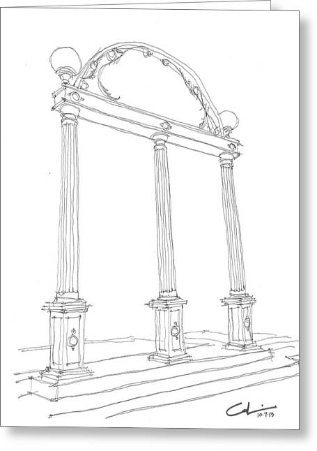 Sec Drawings Greeting Cards - Georgia Arch Greeting Card by Calvin Durham