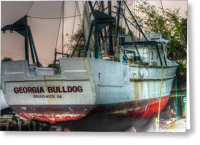 Fishing Boats Greeting Cards - Georgia Bulldog Greeting Card by Dennis  Baswell