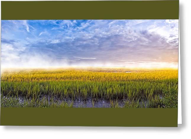 Georgia Coastal Marshes - Sunrise Panorama Greeting Card by Mark E Tisdale