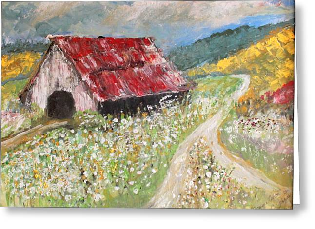 Red Roofed Barn Greeting Cards - Georgia Cotton Greeting Card by Teresa Johnson