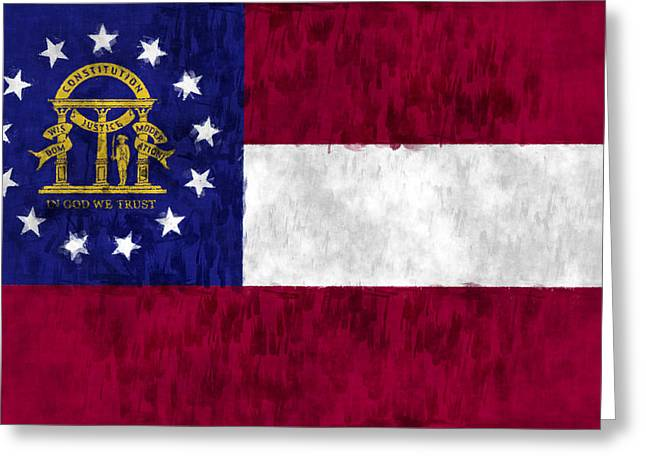 Flag Of Usa Greeting Cards - Georgia Flag Greeting Card by World Art Prints And Designs