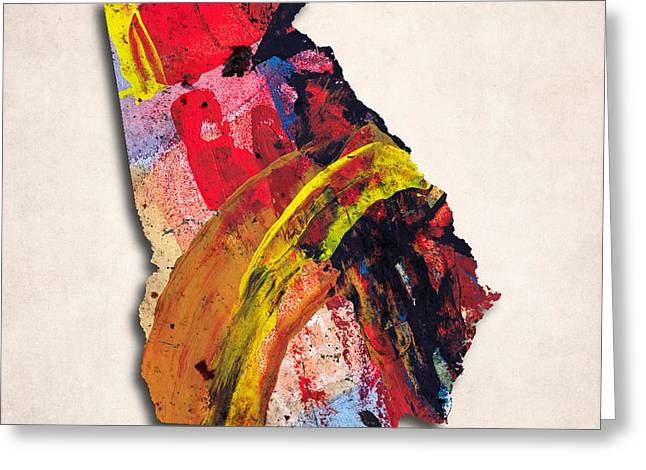 Abstract Map Greeting Cards - Georgia Map Art - Painted Map of Georgia Greeting Card by World Art Prints And Designs