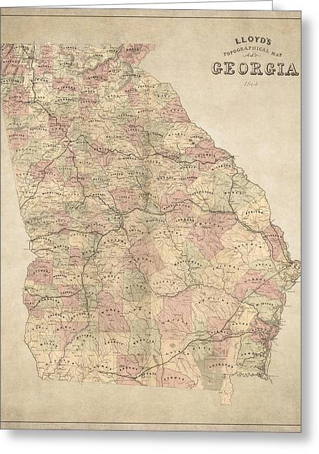 Southern Drawings Greeting Cards - Georgia Map Art - Vintage Antique map of Georgia Greeting Card by World Art Prints And Designs