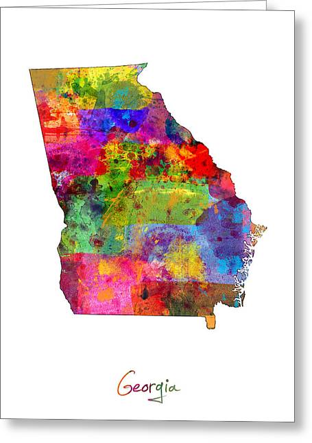 Cartography Digital Greeting Cards - Georgia Map Greeting Card by Michael Tompsett