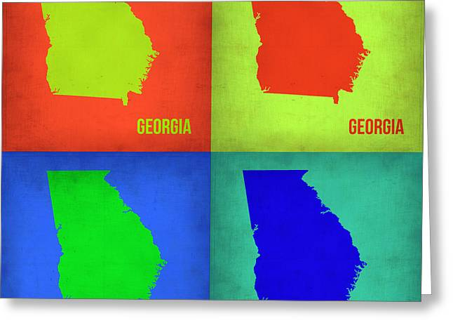 Georgia Pop Art Map 1 Greeting Card by Naxart Studio